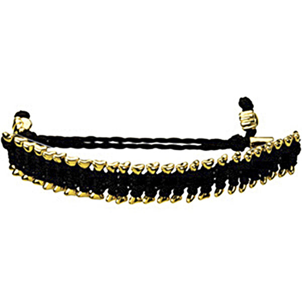 Heart U Back Gold Plated Dog Bone Black Friendship Bracelet
