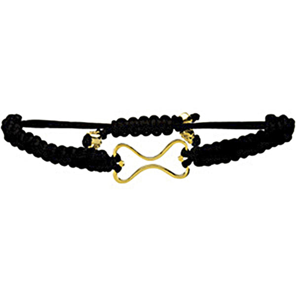 Heart U Back Gold Plated Dog Bone Black Cord Bracelet