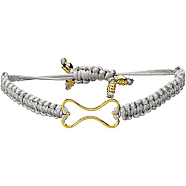 Heart U Back Gold Plated Dog Bone Grey Cord Bracelet