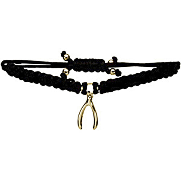 Heart U Back Gold Plated Wishbone Black Cord Bracelet