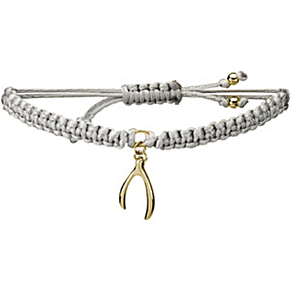 Heart U Back Gold Plated Wishbone Grey Cord Bracelet