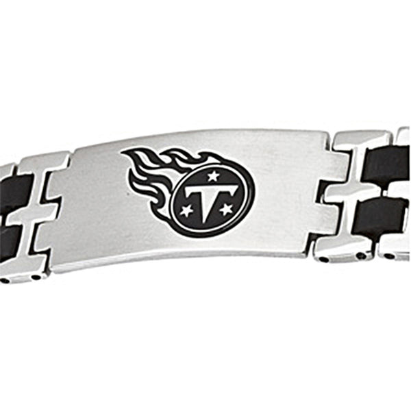 Stainless Steel Tennessee Titans Rubber Logo ID Bracelet