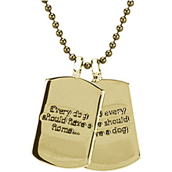 Heart U Back Gold Plated Mini Dog Tag Chain Necklace