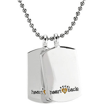 Heart U Back Mini Dog Tag Chain Necklace
