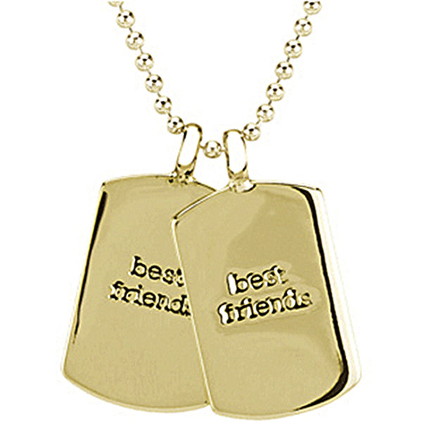 Heart U Back Gold Plated Mini Dog Tag Best Friends Chain Necklace