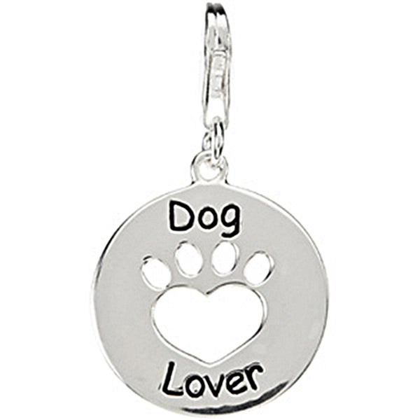 Heart U Back Sterling Silver Dog Lover Paw Charm