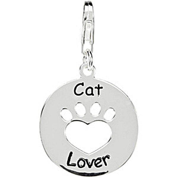 Heart U Back Sterling Silver Cat Lover Paw Charm