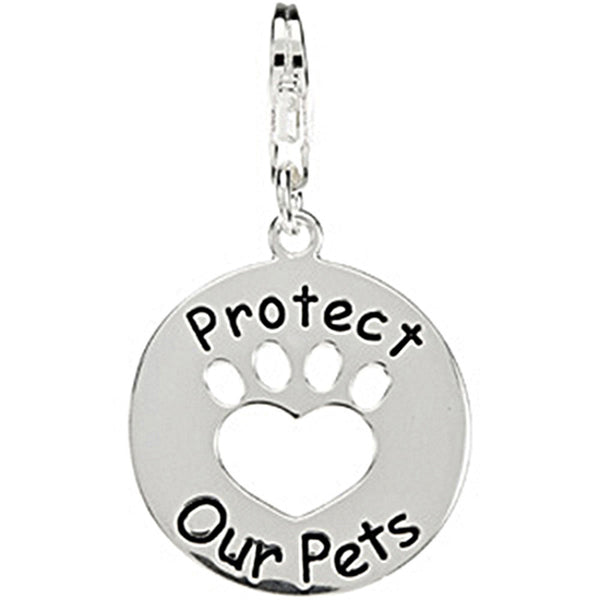 Heart U Back Sterling Silver Protect Our Pets Paw Charm