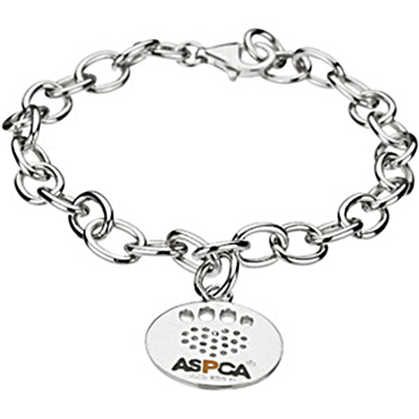 Heart U Back Sterling Silver CZ Paw tag Chain Bracelet