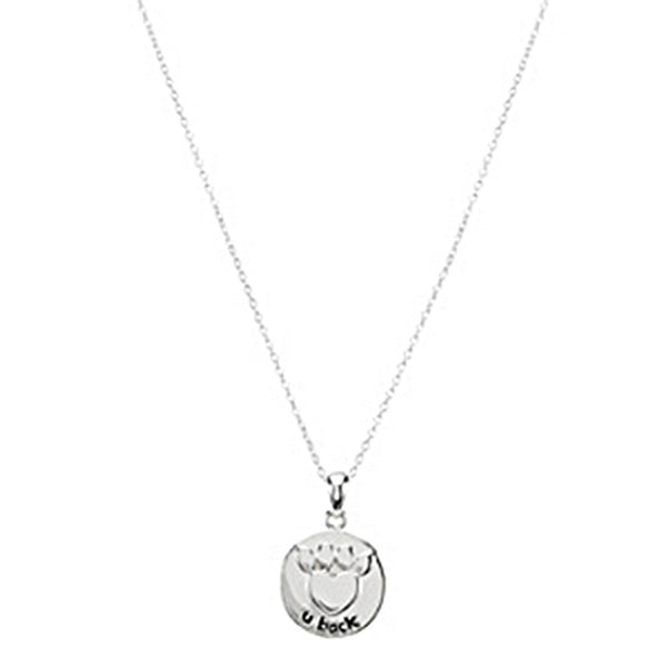 Heart U Back Sterling Silver Paw Necklace