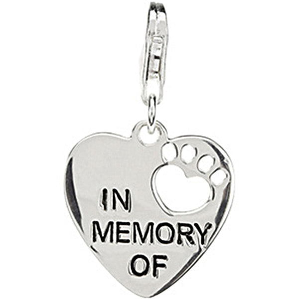 Heart U Back In Memory Of Paw Charm