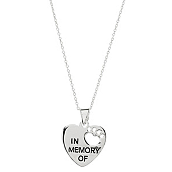 Heart U Back Sterling Silver In Memory Of Paw Necklace