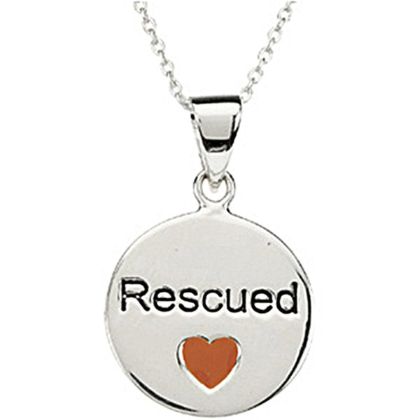 Heart U Back Sterling Silver Rescued Necklace