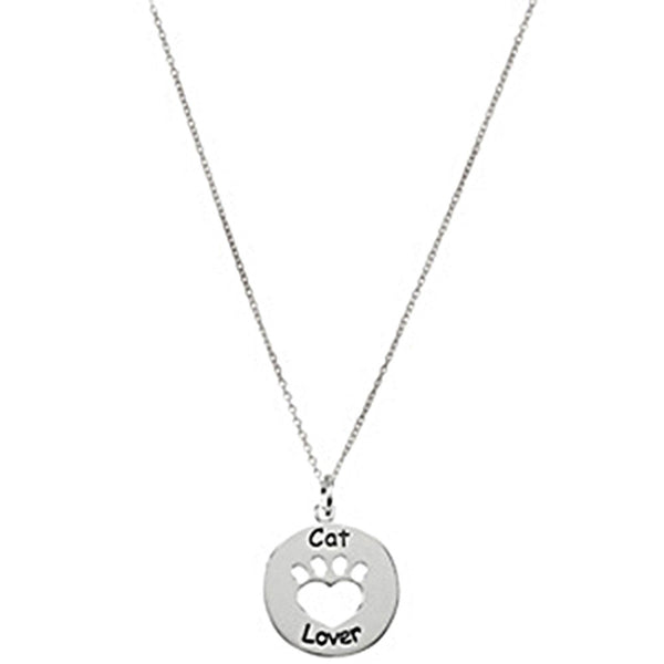 Heart U Back Cat Lover Paw Necklace