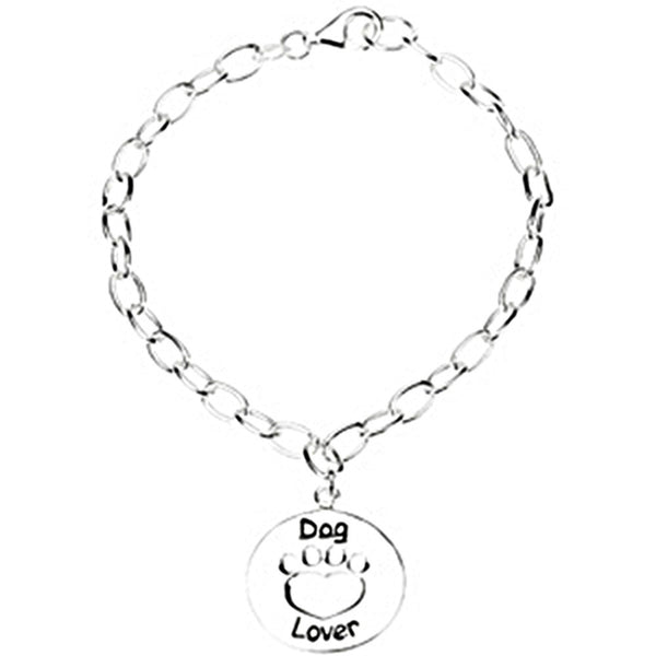 Heart U Back Sterling Silver Dog Lover Paw Bracelet