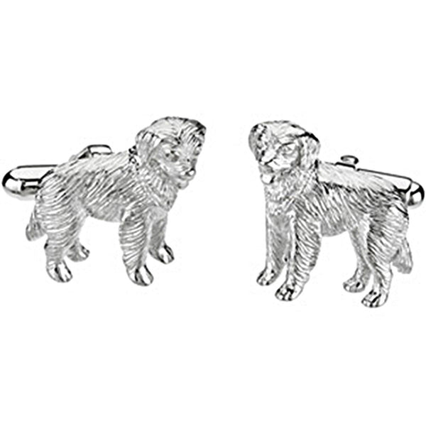 Heart U Back Sterling Silver Golden Retriever Cuff Links