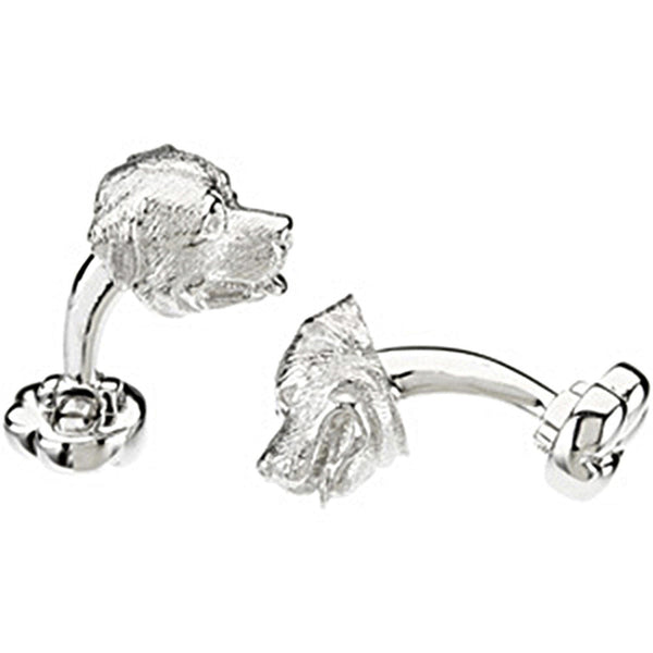 Heart U Back Sterling Silver Rottweiler Cuff Links