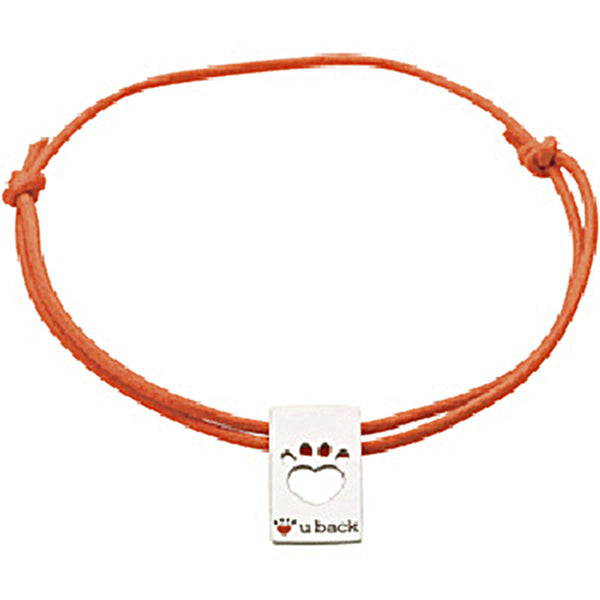 Heart U Back Paw Tag Orange Cord Slip Knot Bracelet