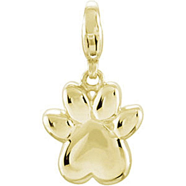 14K Yellow Gold Paw Print Charm