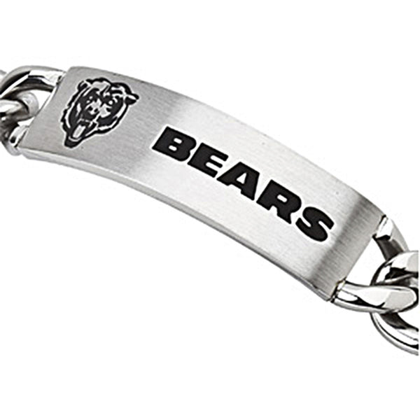 Stainless Steel Chicago Bears Name Logo ID Bracelet