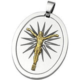 Joyas Alternativas Stainless Steel 10K Yellow Gold Reversible Crucifix Pendant with Lord's Prayer