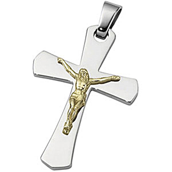 Joyas Alternativas Stainless Steel 10K Yellow Crucifix Pendant