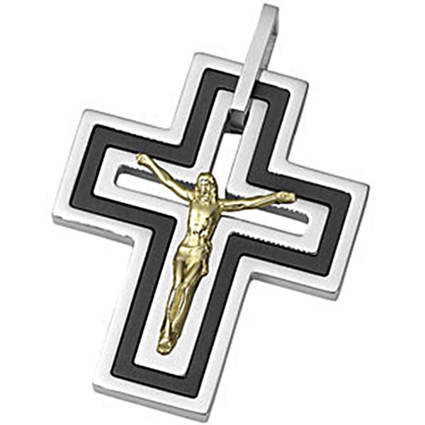 Joyas Alternativas Black Immersion Plated Stainless Steel 10K Yellow Gold Crucifix Pendant