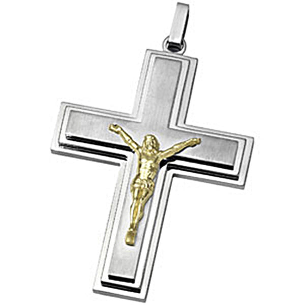 Joyas Alternativas Tri Level Stainless Steel Crucifix Pendant