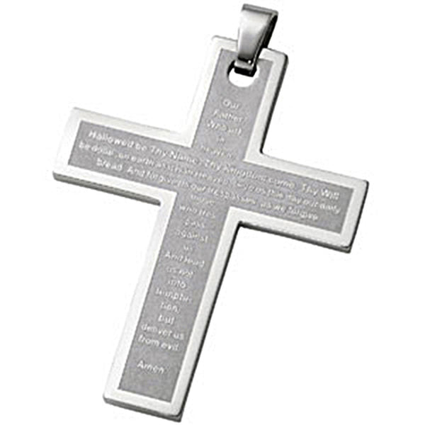Joyas Alternativas Stainless Steel Cross Pendant with Our Father Prayer