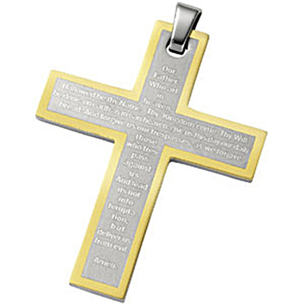 Joyas Alternativas Stainless Steel 18K Yellow Gold Cross Pendant with Our Father Prayer
