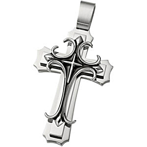 Joyas Alternativas Antique Stainless Steel Cross Pendant