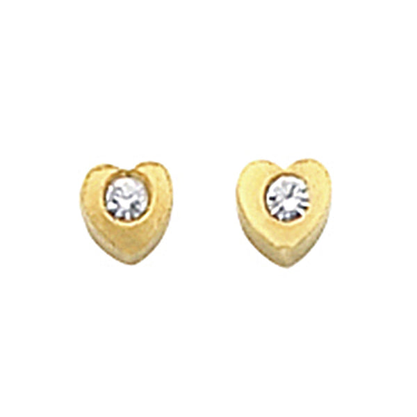Gold Plated Heart Clear Crystal Stud Earrings