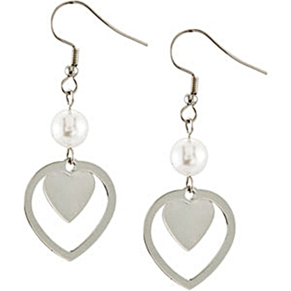 Stainless Steel Drop Heart Earrings