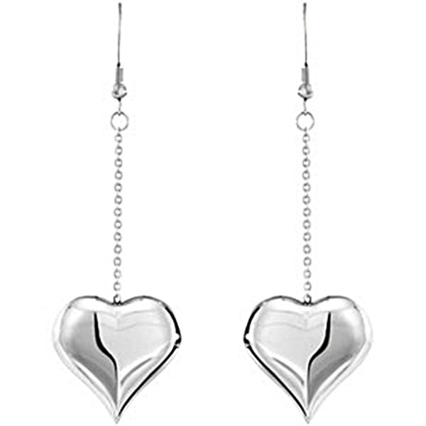 Amalfi Stainless Steel Heart Chain Drop Earrings