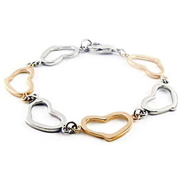 Amalfi Stainless Steel Gold Rose Immerse Plated Heart Bracelet