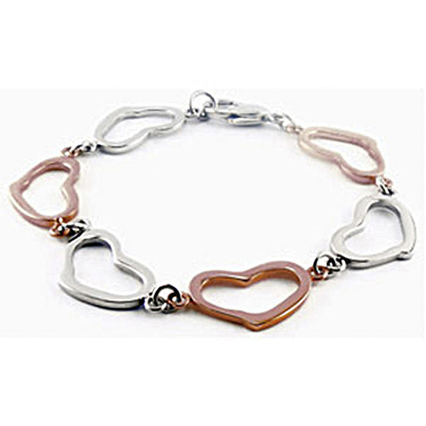 Amalfi Stainless Steel Chocolate Immerse Plated Heart Bracelet