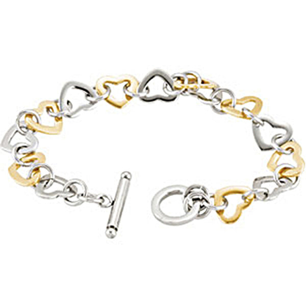 Stainless Steel Gold Immerse Plating Heart Link Bracelet