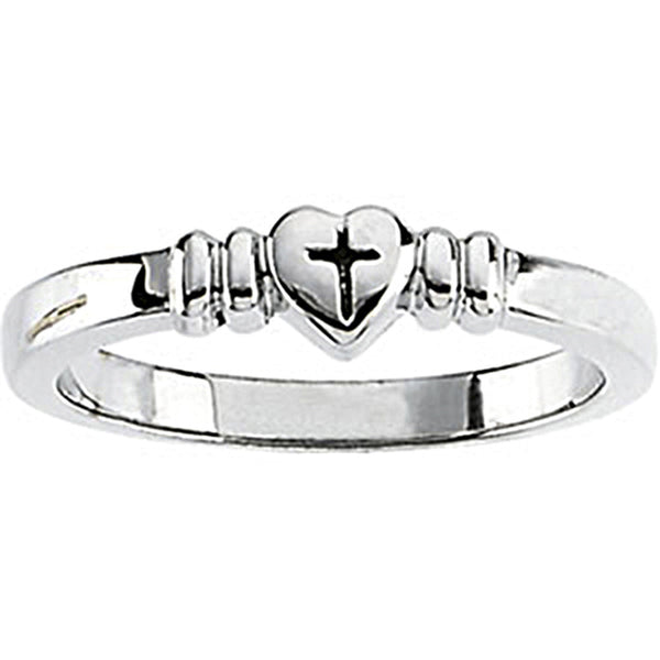 Sterling Silver Heart Cross Chastity Ring