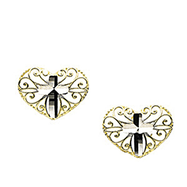 14K Yellow White Gold Heart Cross Earrings