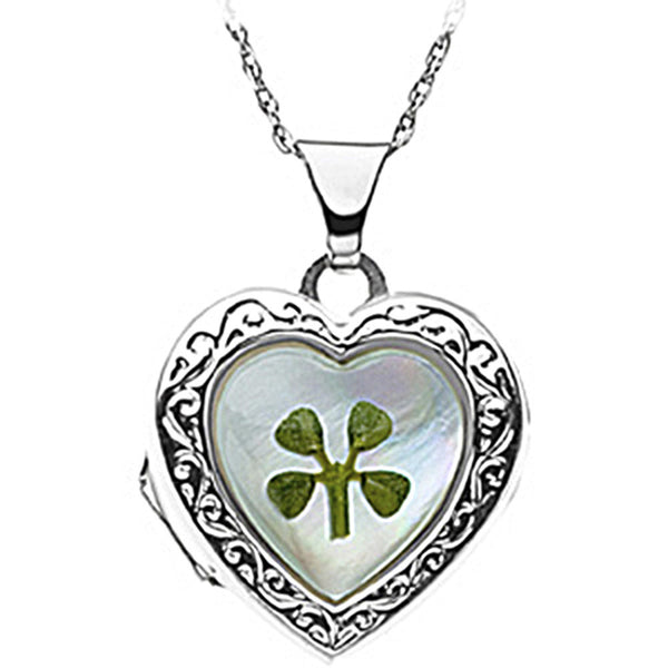 Sterling Silver Mother of Pearl Four Leaf Clover Heart Locket