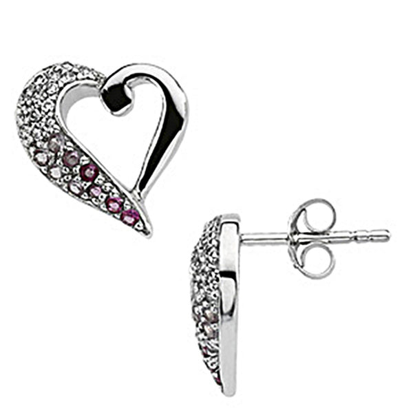 Sterling Silver Inspirational Blessings Cubic Zirconia Heart Earrings
