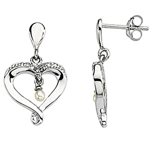 Sterling Silver Inspirational Blessings Cubic Zirconia Heart Pearl Earrings