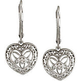 Sterling Silver .02 ct tw Diamond Heart Leverback Earrings