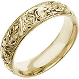 14K Yellow Gold 6mm Hand Engraved Wedding Band Ring