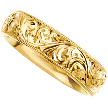 14kt Yellow Gold 6mm Hand Engraved Wedding Band Ring