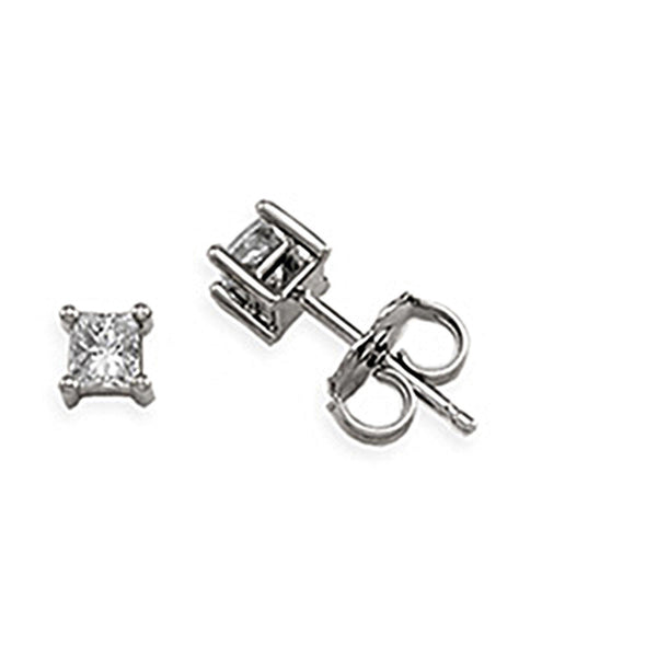 14kt White Gold Princess-Cut Diamond Stud Earrings (1/4 cttw, G-H Color, I1 Clarity)