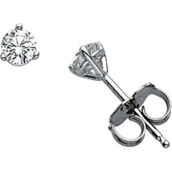 14K White Gold Martini Diamond Stud Earrings (1/3 cttw, G-H Color, S1 Clarity)