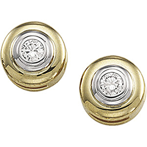 14kt Gold Two Toned Diamond Stud Earrings (1/5 cttw, G-H Color, S1 Clarity)