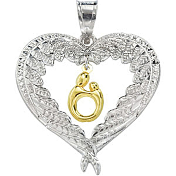10K Gold Sterling Silver Angel Wing Heart Mother and Child Pendant by Janel Russell