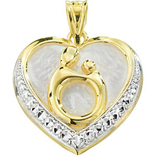 10K Yellow Gold Heart Mother and Child Pendant by Janel Russell